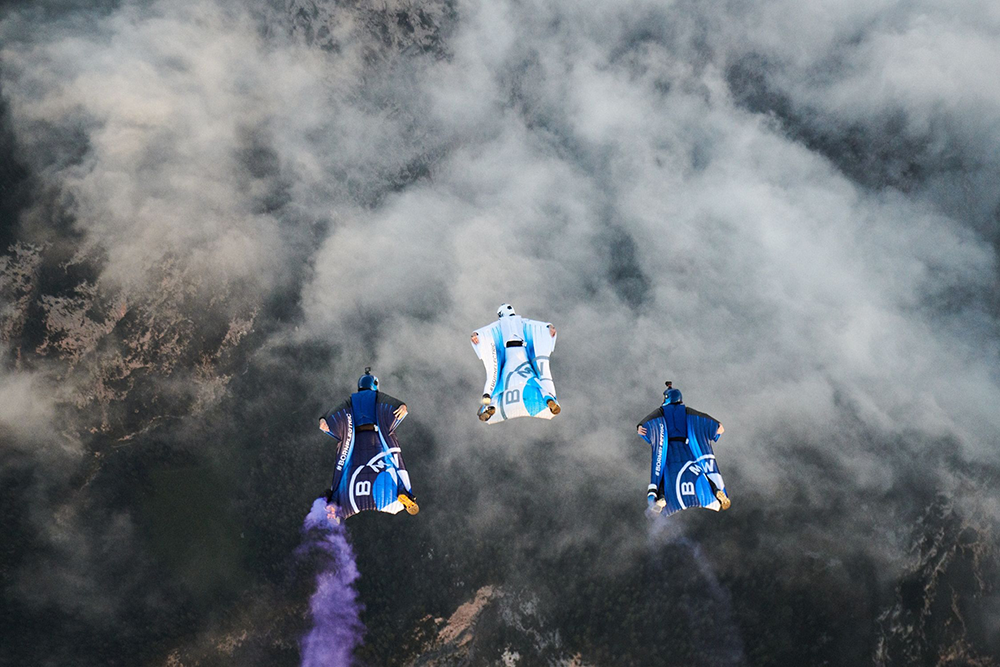 BMW Wingsuits in formation