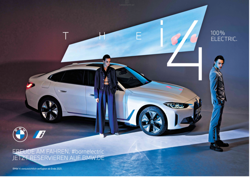 German print ad for the BMW i4.