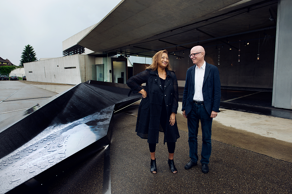Zaha Hadid and Rolf Fehlbaum, 20th anniversary of the fire station she designed, 2013