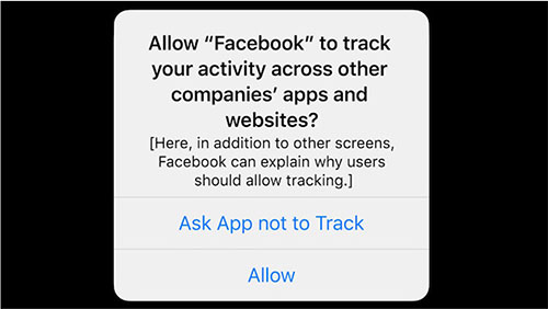 This dialogue box gives iOS 14.5 users the option of denying cross tracking, photo: © 2021 Apple Inc. All rights reserved.