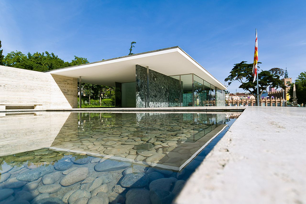 The Barcelona Pavilion built by Ludwig Mies van der Rohe in 1929.