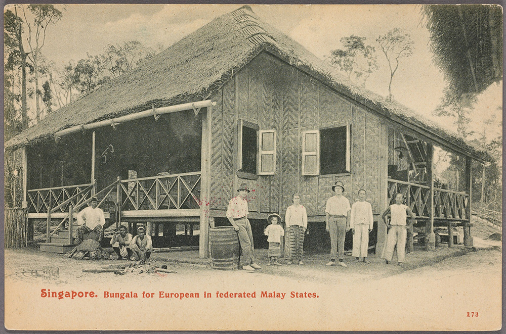 Bungala in Singapur. Bungalow für Europäer in Malaysia.