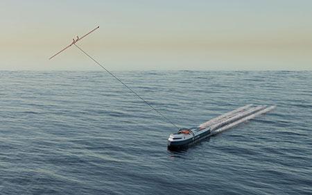 Das Start-up CargoKite entwickelt autonome, von Drachensegeln gezogene Containerschiffe.
