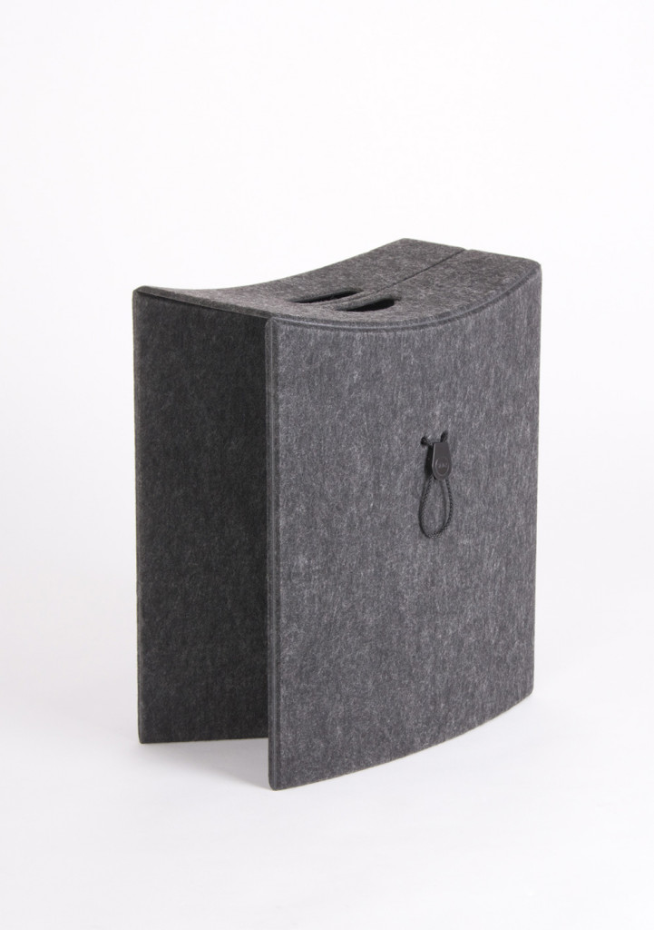 Folding stool TAKEoSEAT made from a single piece of PET felt
