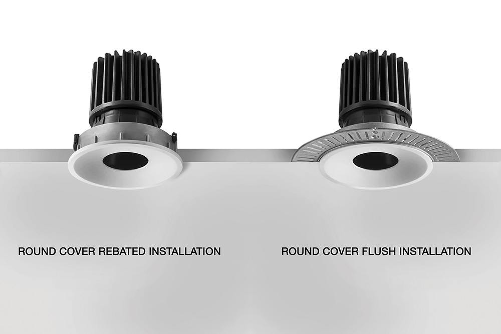 Retaining bezel enables installation to be rebated or flush with ceiling. Up to six different styles of cover, round or square, ach with three different depths