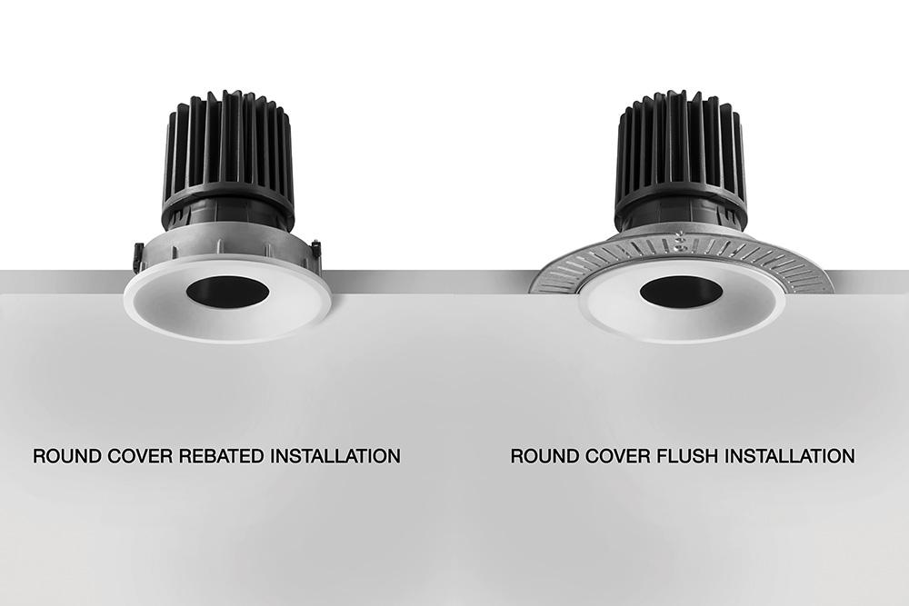 Combina D 2.1, 3000K, 11W, 30°-36°, quadratische weiße Frontabdeckung, Montage: flach, sichtbar mit Rand. Courtesy of Euromobil Cucine