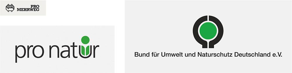 Pro Mehrweg, pro natur and BUND signets