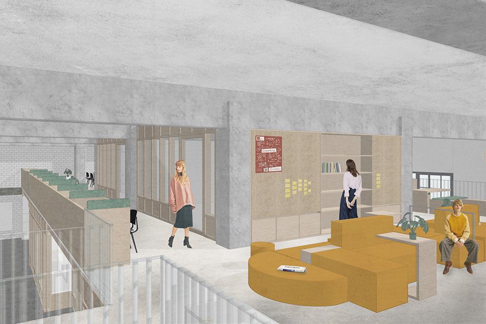 Für den Innenausbau des CRCLR House in Berlin verwenden LXSY Architekten teilweise gebrauchte Materialien.